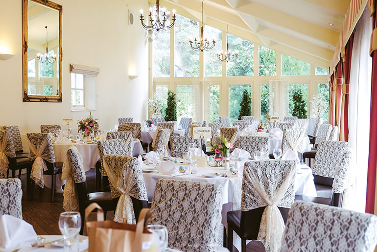 Elegant Dining Room at Horton Grange ready for Wedding Guests