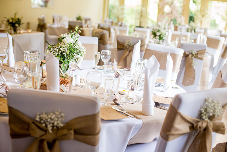Elegant Dining room at Horton Grange set for a Wedding Party
